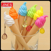 Wholesale Ice Cream Stationery - Free Shipping 20pcs lot Gel Pen Ice Cream Shape Pens Writing Pens Sign Pen Stationery Material Escolar