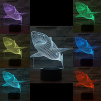 Mixed Lot Shark 3D Optical Night Light 10 EDs Acrílico Light Panel AA Battery DC 5V Factory Wholesale