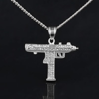Wholesale Men Cz Chain - Hip Hop Gun Pendant Necklace For Men Women Iced Out Cz Pendant Cuban Chain Drop Shipping