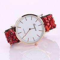 Wholesale Belt Buckle Bracelet Stones - New Fashion Net Surface Band Geneva Watches Women Stones Fixed Leather Strap Casual Bracelet Wristwatch Quartz Relogio Feminino