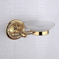 Wholesale Golden Dishes - Soap Dish Holder Golden Luxury Glass Soap Dishes with White, Wall Mounted Bathroom Soap Box for Shower