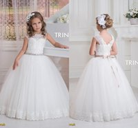 Wholesale Collared Girls Party Dress - 2016 Cap Sleeves Crystals Lace Tulle Flower Girl Dresses for Vintage Wedding Tulle Jewel Child Party Gowns Beautiful Baby Communion Dress
