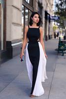 siyah backless şifon moda balo elbisesi toptan satış-Moda Beyaz Ve Siyah Abiye Şifon Balo Elbise Kesit Taraf Backless Pleats örgün abiye giyim vestidos de dresses Maxi Elbiseler