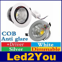 Wholesale Ceiling Light Glare - COB Led Downlights 9W 12W 15W 18W Dimmable Led Recessed Ceiling Lights Anti glare AC 110-240V + Drivers