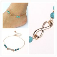 Wholesale Green Anklet - 2016 New Ankle Bells Summer Style Turquoise Beads Chain Foot Double Zipper Anklet 925 Women Silver Bracelet On A Leg Diamond Jewelry
