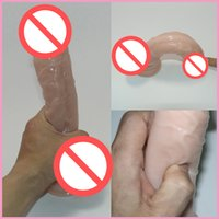 ingrosso mutandine marrone nero-Female Masturbation Cock Skinfeeling Pene realistico Super enorme Dildo con ventose Giocattoli del sesso per donna Prodotti del sesso