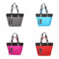 Wholesale Wholesalers Unisex Handbags - Pink Letter Handbags VS Shoulder Bags Pink Totes Travel Duffle Bags Waterproof Beach Bag Shoulder Bag Shopping Bags 4 Colors LJJO2816
