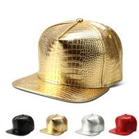 Wholesale Snapback Hats Vogue - 2016 Vogue PU Leather snake skin Baseball caps Gold Cockade Crocodile hip hop hats Men Women Gorras DJ Rap snapback hat Caquette