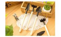 Wholesale Garden Gardeners - 3pcs set Mini Garden Hand Tool Kit Plant Gardening Shovel Spade Rake Trowel Wood Handle Metal Head Gardener WA0877