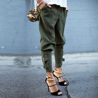 Wholesale Designed Harem Pants - Preself New Fall Arrival Women's Fashion Design Loose Trousers Pants Korea Style Army Green Unique Fettered Leg Harem Pants
