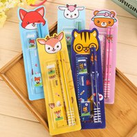Wholesale Gift Student Prize - Wholesale-5Pcs color Cartoon Stationery Set (sharpener Pencil ruler eraser) student special Children's Birthday Gift Prize School