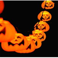 Wholesale Halloween Pumpkin Lantern - Halloween 5M 20 LED Pumpkin LED String Light AC110 220V Orange Pumpkin Lights Halloween Christmas Holiday Decoration Lanterns Light