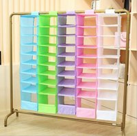 Wholesale Hangs Closet - 9 Cell Hanging Box Underwear Sorting Clothing Shoe Jean Storage Mails Door Wall Closet Organizer Closet Organizador Bag