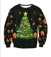 Wholesale Wholesale Hoodies For Men - Christmas Hoodies Christmas Tree Printed Long Sleeved Blouse T-shirt Cute Hoodies For Man And Women 4 Types