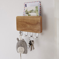 Wholesale Wall Mounted Rack Clothes - WOOD MOUNTED KEY HOLDER MAIL LETTER BOX RACK WALL DOOR 4 KEY HOOK STORAGE ORGANISER ENTREWAY