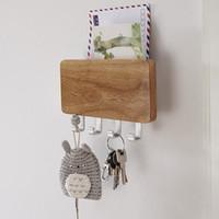 Wholesale Door Letters - WOOD MOUNTED KEY HOLDER MAIL LETTER BOX RACK WALL DOOR 4 KEY HOOK STORAGE ORGANISER ENTREWAY