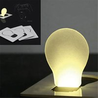 Wholesale- Portable LED Card Pocket Light Bulb Lampe Portefeuille Taille New Design nightlight led led lumière nocturne mini night lights P20