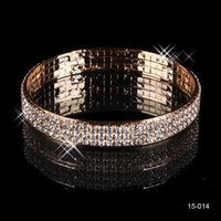 Wholesale Trendy Evening Dresses Women - Luxury 3 Row Rhinestone Gold Plated Arabic Bangle Cheap Wedding Bracelets Bridal Jewelry Women Party Prom Evening Dress Accessories 15014