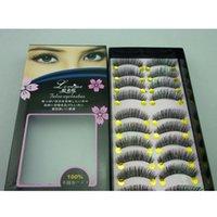 Wholesale Japan Fake Eyelash - Wholesale-Exported to Japan pure manual false eyelashes Natural cross eye end with long cotton stalks fake eyelashes A01