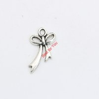 Wholesale Bow Pendant Make Bracelets - 40pcs Antique Silver Plated Bow Charms Pendants Bracelet Necklace Jewelry Making Accessories DIY 20x11mm