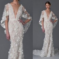 Wholesale crystal bell wedding online - 3D Floral Dubai Ayaba Bell Sleeve Mermaid Beach Wedding Dresses Handmade Flower V neck Full length Fishtail Wedding Gown