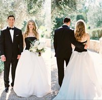 Wholesale Strapless Open Back Wedding Gown - 2016 A-Line Black White Wedding Dresses Cheap Long Strapless Open Back Bridal Gowns