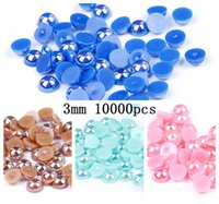 Wholesale Scrapbook Letters - 2016 New Half Round Pearls 3mm 10000pcs 9 AB Colors Flatback Imitation Scrapbook Beads Perfect For DIY Crafts Wedding Clothes