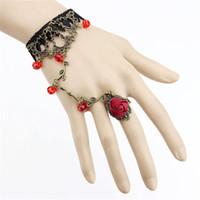 Wholesale Vintage Lace Bracelet Ring - New Vintage Luxury Texture Temperament Lace Bracelet Slave Chain Link Ring Wedding Wristband For Women Free Shipping
