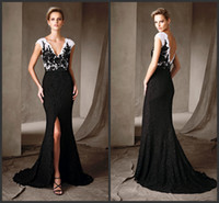Wholesale Sexy White Fashion Dress - Celebrity Dress Cheap Lace Wear Evening Gowns V Neck Open Back Sexy White Black Prom Dress Formal Wear Front Split Sweep Train Fashion