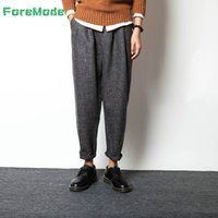 Wholesale Men S Pantyhose - Wholesale-ForeMode 2016 New Wind Men's Casual Pants Cotton Pants Japanese Retro Loose Size Wide Leg Pants Haren Radish Pantyhose