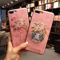 Wholesale Oppo Cases - Fashion TPU Phone Case for iPhone 7 7plus Bulk Embroidery Flamingo Pattern Back Cover for OPPO