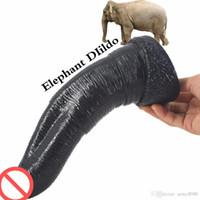 enormes dildos pretos venda por atacado-Novo elefante dildo animal 269 * 55mm enorme grande grande dildos gigantes artificiais carne / pênis preto faek pau brinquedos sexuais para a mulher