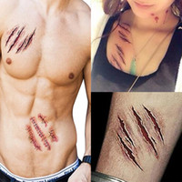 Wholesale Temporary Realistic Tattoos - New 2016 Waterproof Temporary Tattoo Sticker Halloween Terror Wound Realistic Blood Injury Scar Fake Tattoo Sticker HN729 100pcs