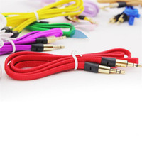 Wholesale speaker for mobile cord online - DHL3 mm Stereo Audio AUX Cable Braided Woven Fabric Wire Auxiliary Cords Jack Male To Male m ft Lead For Iphone Samsung Mobile Phone L SJ