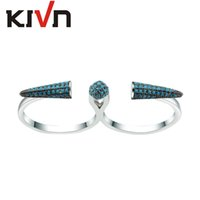 Wholesale Double Finger Adjustable Rings - KIVN Jewelry Open Adjustable Luxury CZ Cubic Zirconia Double Womens Girls Wedding Engagement Double Finger Rings Mothers Day Birthday Gifts