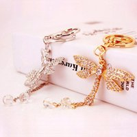 Frete grátis Crystal Dragonfly Keychains Rhinestone Key Ring Purse Bag Car Decors Gift Gift do Natal 2 colors supply