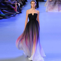 Wholesale wholesales prom dresses - New Gradient Colorful Sexy Dresses Ombre Chiffon Prom Dress Evening Dress Strapless with Pleats Women Dress