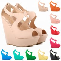 Sapato Femino Fashion Ladies Patent Platform Peep Toe Talons hauts Wedge Chaussures Sandales US TAILLE 4-11 D0099