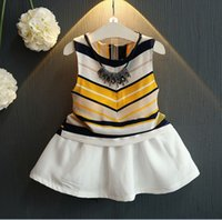 Wholesale Korean Style Striped Shirt - 2016 Girls Summer Hot Sale Korean Style Fashion Chiffon Outfit Striped Sleeveless T-shirt And Tutu Skirt 2 Pieces Set Kids K7766