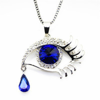 Wholesale Big Eye Sweater - Forever Love Big Crystal Charm Pendant Medusa Eye Necklaces Women Quality Silver Color Chain Necklace Sweater Magic Decoration for Christmas