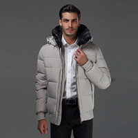 Wholesale Winter Clearance Down Coats Men - snowimage Men's thick down jacket coat solid color Slim Business thread cuff winter coat winter clothes clearance processing free shipping