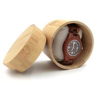 cajas de madera para hombres al por mayor-Caja de bambú natural para los relojes Caja de madera de la joyería de los hombres de la colección del sostenedor del reloj de la exhibición del regalo del estuche de regalo ZA4630