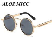 yuvarlak steampunk güneş gözlüğü gözlükleri toptan satış-ALOZ MICC Vintage Yuvarlak Steampunk Güneş Gözlüğü Kadın Erkek Moda Retro Daire Metal Buhar Punk Güneş Erkekler Altın Siyah Gözlük UV400 A314