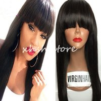 Wholesale Chinese Bangs Black Women - Silky Straight Human Hair Wigs Brazilian Hair with bangs Full Lace Wig & Lace Front Wig For Black Women Full Lace Human Hair Wigs