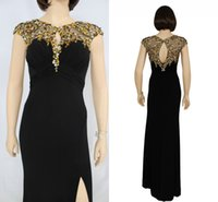 Wholesale Eveving Dresses - Evening Dresses Side Split Dresses For Eveving Wear Cap Sleeve Stunning Sequins Sexy Chiffon Dresses 2016 party Dress In Stock Z422