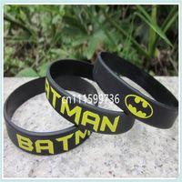 Wholesale Custom Rubber Bands Bracelets - 100pcs lot Batman silicone rubber printed colour custom wristband bracelet band,free shipping