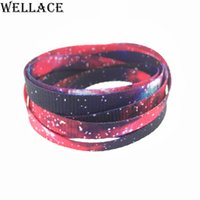Wholesale galaxy girl - Wellace Lovely Hot Prints Boys Girls Flat Galaxy Shoelace Printing Shoelaces sublimated Shoe Lace Polyester Strings 120cm