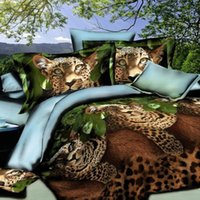Wholesale Leopard Printed Comforters - muchun Brand Bedding Sets 4 pcs Bedding Comforter Set Duvet Covers Bed sheet 3D Jungle Leopard Printing Home Textiles