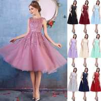 Wholesale Knee Length Evening Wear - 2018 New Crew Neck Lace Knee Length Graduation Cocktail Dresses Organza Lace Applique Beaded Short Party Evening Homecoming Gowns CPS298