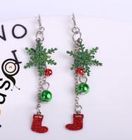 Wholesale earrings snowflake long - Colorful Christmas Day Snowflake Boots Pendant Tassel Long Earrings Hollow Snowflake Earrings Christmas Gift for children  girl